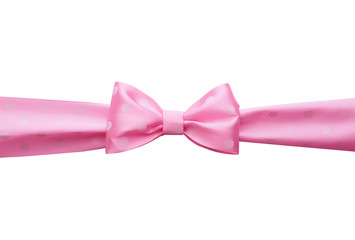 Pink bow on light background