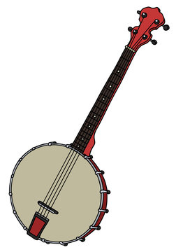 Classic red four strings banjo