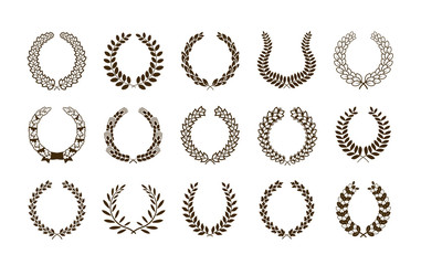 Laurel wreath set symbols or icons. Vector heraldic element collection and coat of arms