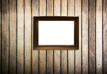 wooden picture frame on old wood  background