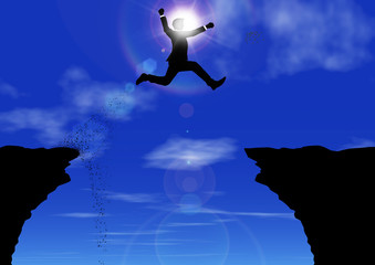 崖から崖へジャンプするビジネスマンのシルエット