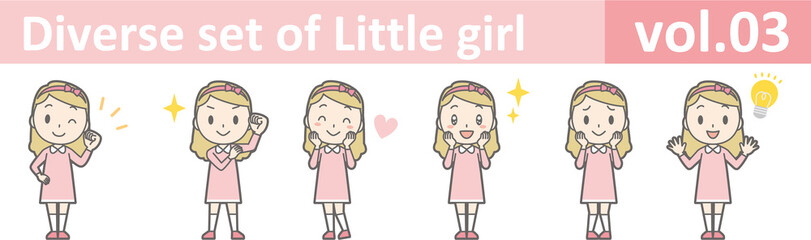 Diverse set of little girl , EPS10 vector format vol.03