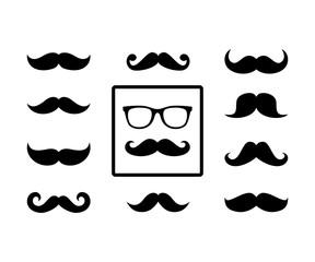Silhouette Mustache Beard Man Face Style