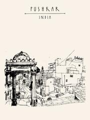 Pushkar, Rajasthan, India. Hand drawn postcard