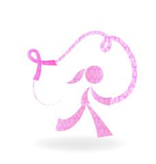 Girl with pink ribbon logo symbol