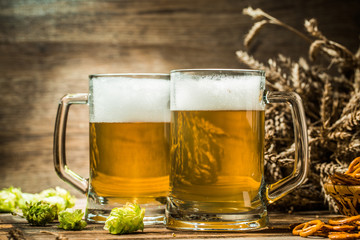 Two tankard beer with wheat and hop on wooden table