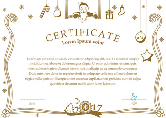 White Christmas certificate with Santa