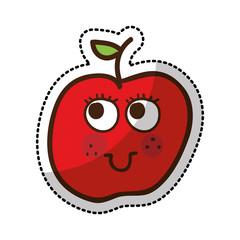 apple fruit character comic icon vector illustration design