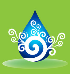Water drop logo swirly icon vector design