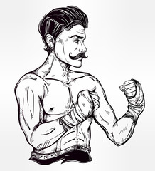 Vintage retro boxer fighter, player illustration.