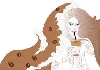 vector beautiful girl is drinking coffee and it covers the wave of cheerfulness