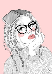 vector beautiful girl with glasses and a sweater with a book on her head realizes advantages of reading literature and learning