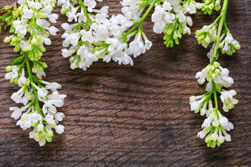 White lilac on wooden background