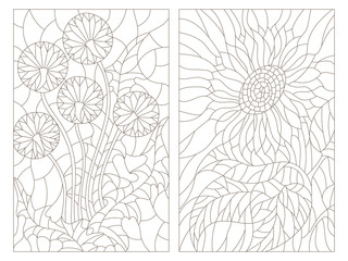 Set contour illustrations in the stained glass style, abstract flowers of blowball and sunflower, dark outline on a white background
