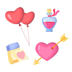 Valentine s day stylish icons set. Cartoon style. Heart, calendar, balloons and glass jar. Illustration eps 10.
