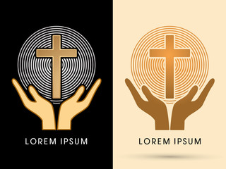 Hands holding cross with light graphic vector
