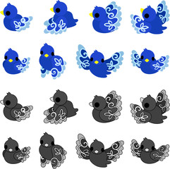 The illustration of cute little blue birds of a mysterious design