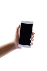 Hand play on mobile touch screen on white isolate background