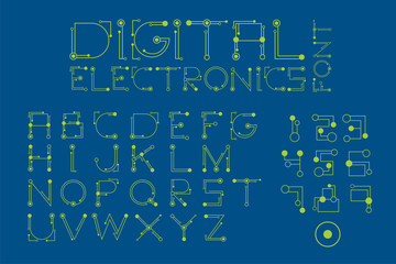 Font set in digital and electronics style.