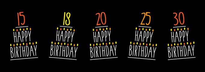 Happy birthday cake - 15 to 30