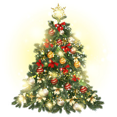 Christmas decorated tree with baubles, stars, snowflakes and lig