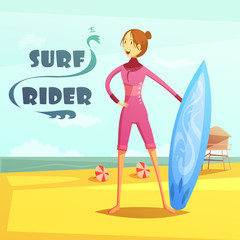 Surfing And Surf Rider Retro Cartoon Illustration