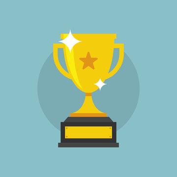 Trofeo di vittoria, coppa dorata scintillante con icona a stella, illustrazione flat vettoriale
