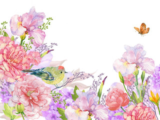 floral background for card,text. Illustration in watercolor,little blue bird ,flowers. postcard floral pattern