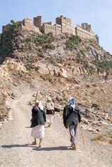 People walking to a village on Haraz mountains, Yemen