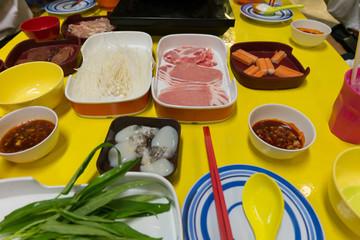 Table of Thai Style Shabu Shabu