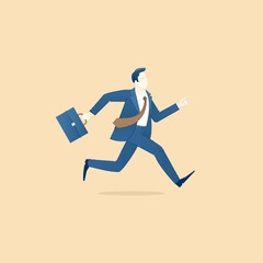 Business concept vector illustration of a hurrying businessman