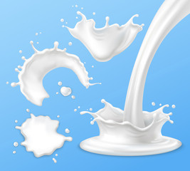 Milk splashes, drops and blots