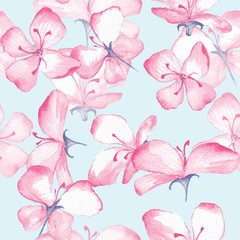 Delicate floral pattern. Seamless background with watercolor flowers 8