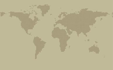 Dotted map on khaki background with resolution 2000x1000 dots and all major earth continents - Eurasia, North and South America, Africa, Australia.