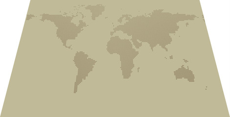 Isometric dotted map on khaki background with resolution 2000x1000 dots and all major earth continents - Eurasia, North and South America, Africa, Australia.
