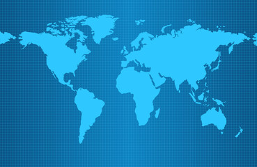 Earth map on blue gradient background with grid and all major earth continents - Eurasia, North and South America, Africa, Australia.
