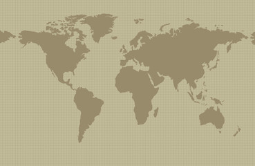 Earth map on khaki background with grid and all major earth continents - Eurasia, North and South America, Africa, Australia.