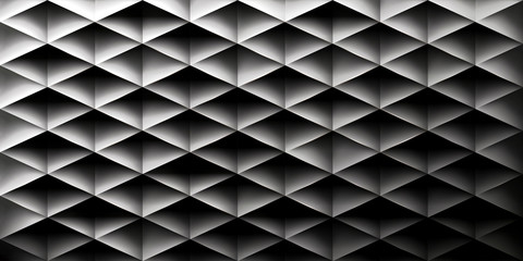 Retro background, triangles and rhombs, mesh gradient, transition from light to dark, vector wallpaper, black pattern