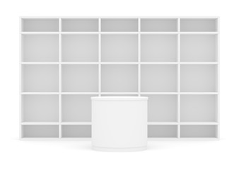 White POS POI cylinder with shelves as backdrop