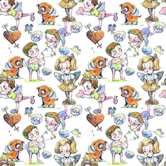 holiday, angel, valentines day, a set of characters, cartoon drawing