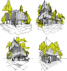four hand drawn sketches  of abstract modern building with lots of greenery and  trees on the roof and walls
