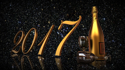 Happy new year 2017 / 3D render image representing New years eve with champagne