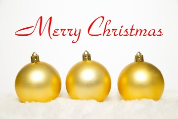 Yellow Christmas decoration on white
