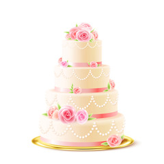 Classic Wedding Cake With Roses Realistic