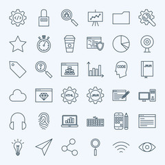 Line Web Development Icons