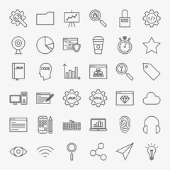 Web Development Line Icons Set