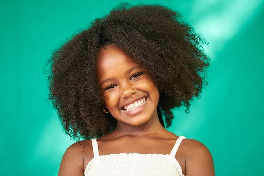 Pretty Young Latina Girl Cute Black Female Child Smiling