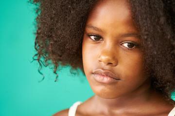 Beautiful African American Girl Hispanic Child Sad Face Expressi