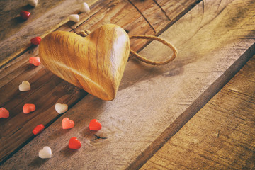 Valentines day background. heart on wooden table
