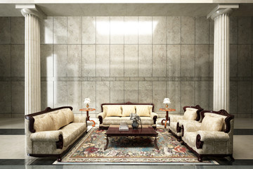 The interior desin of luxury living room
